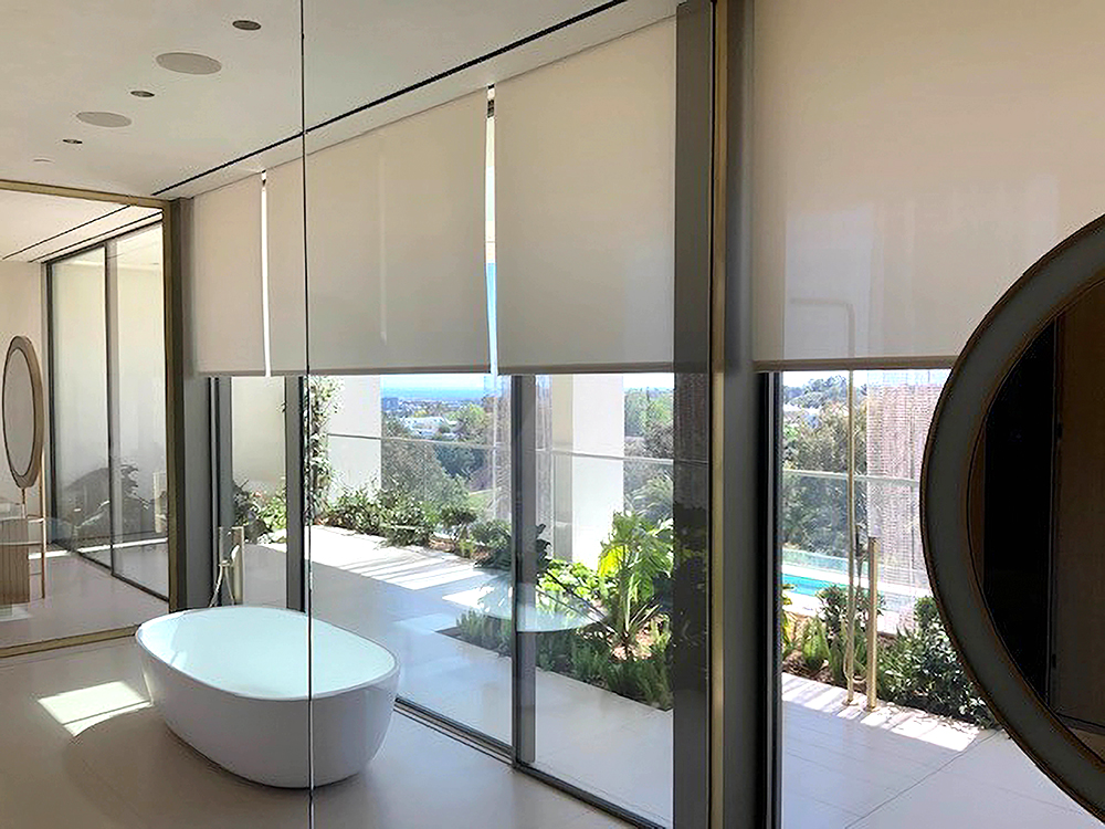 automated shades in a bathroom by Bay Shades